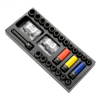 """EXPERT by FACOM E041604 - 26pc 1/2"""" Square Drive Metric 6pt Impact Socket Module"""
