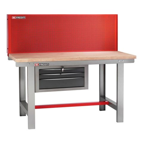 FACOM 2245.PVAT3 - Classic 1.5m Wooden Worktop Work Bench + 3 Drawers + Panel