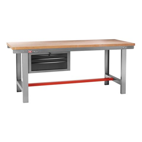 FACOM 2250.AT3 - Classic 2m Wooden Worktop Work Bench + 3 Drawers