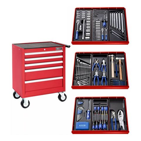 EXPERT by FACOM E220321B - 207pc General Metric Tool Kit + 5 Drawer Roller Cabinet Red