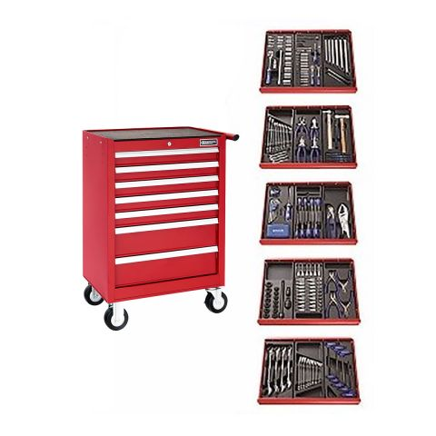 EXPERT by FACOM E220328B - 285pc General Metric Tool Kit + 7 Drawer Roller Cabinet Red