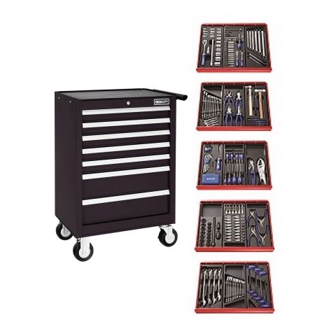 EXPERT by FACOM E220329B - 285pc General Metric Tool Kit + 7 Drawer Roller Cabinet Black