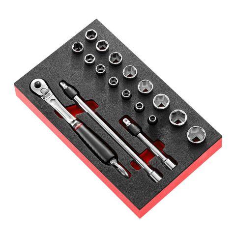 """FACOM MODM.JL1SLS - 18pc SLS Tethered 3/8"""" Square Drive Metric 6pt Socket Foam Module + JL.171"""