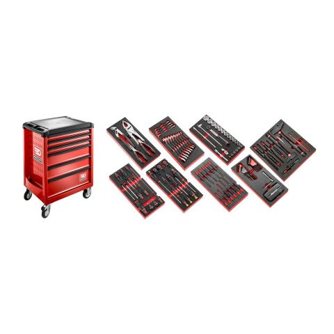 FACOM ROLL6M3.CMAG - 135pc General Metric Tool Kit In Foam Modules + ROLL+ Roller Cabinet