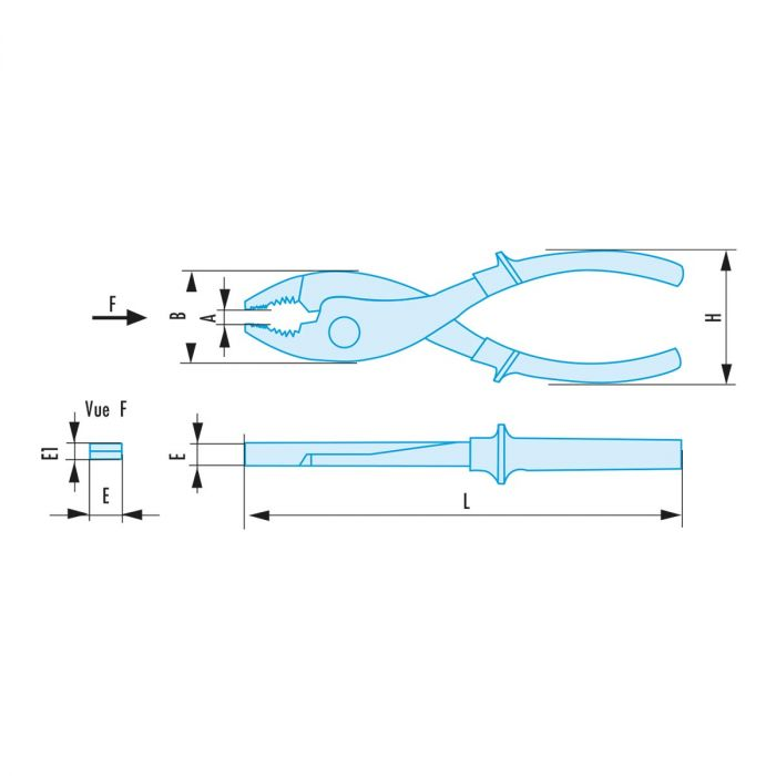 FACOM 186.8SR - 13x203mm Non-Sparking Gripping Pliers