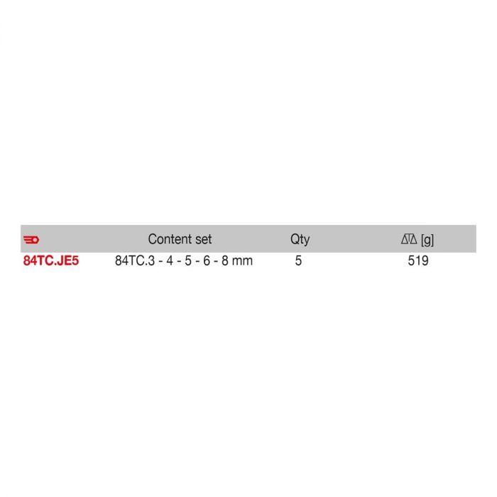 FACOM 84TC.JE5 - 5pc Metric Hex T-Handle Spinner Key Set