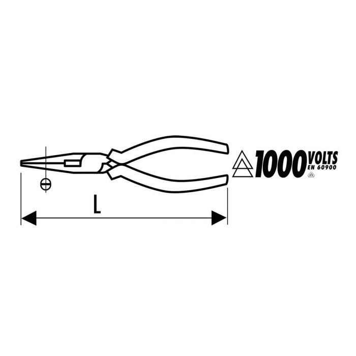 EXPERT by FACOM E185A.XVE - Insulated Straight Half-Round Comfort Grip Pliers