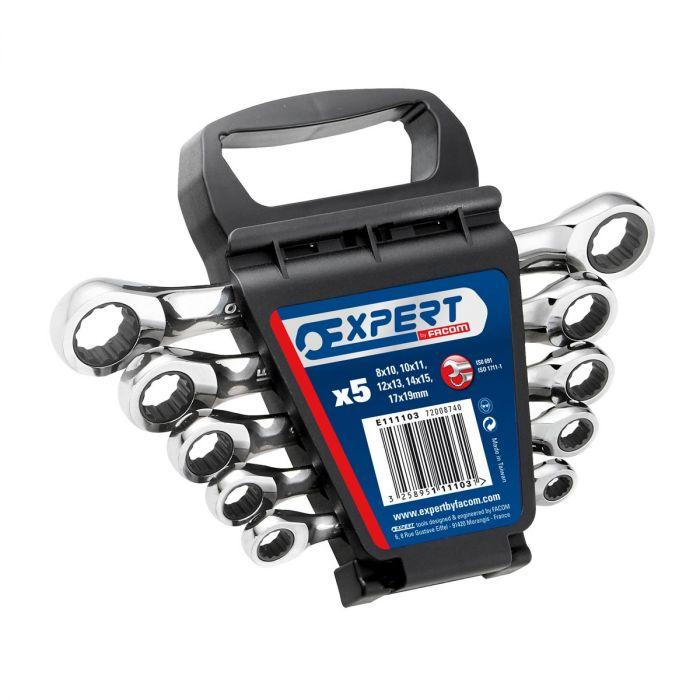 EXPERT by FACOM E111103 - 5pc Metric Ratchet Flat Ring Spanner Set + Clip