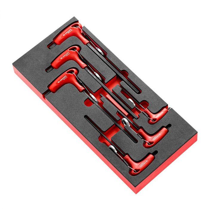 FACOM MODM.84TZJ6SLS - 6pc SLS Tethered Metric Hex Comfort Grip T-Handle Key Foam Module
